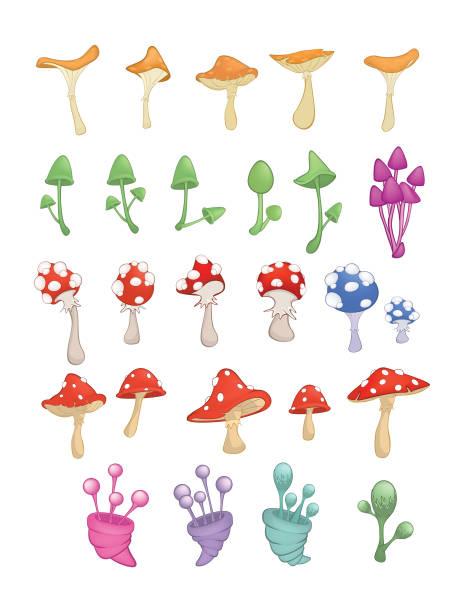 bildbanksillustrationer, clip art samt tecknat material och ikoner med uppsättning av vektor cartoon illustration. a olika svampar för ett dator spel och du designar - höst plocka svamp