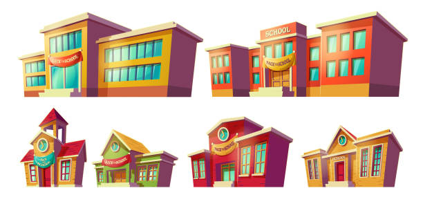 Set of vector cartoon illustrations cartoon of various color old, retro and modern educational institutions, schools. Set of vector cartoon illustrations of various color old, retro and modern educational institutions, schools isolated on white background. Template, design element, print. schoolhouse stock illustrations