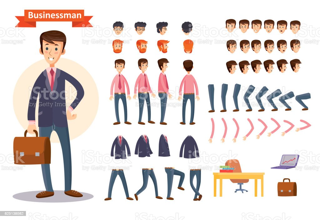 Set of vector cartoon illustrations for creating a character, businessman.
