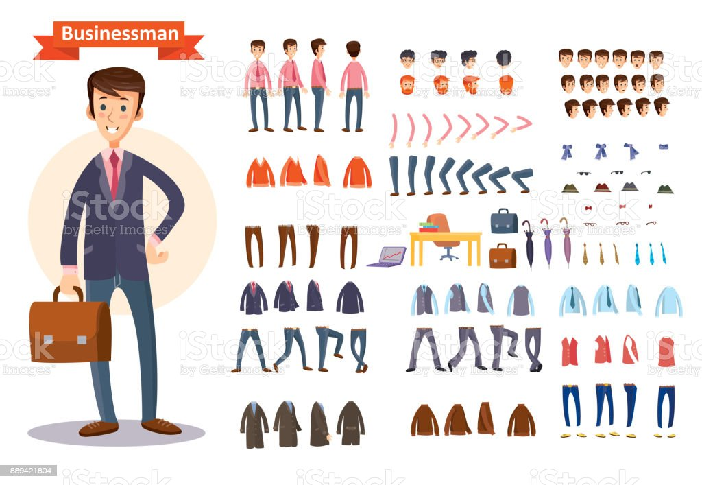 Set of vector cartoon illustrations for creating a character, businessman. vector art illustration
