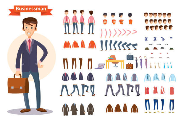 set of vector cartoon illustrations for creating a character, businessman. - cartoon people stock illustrations, clip art, cartoons, & icons