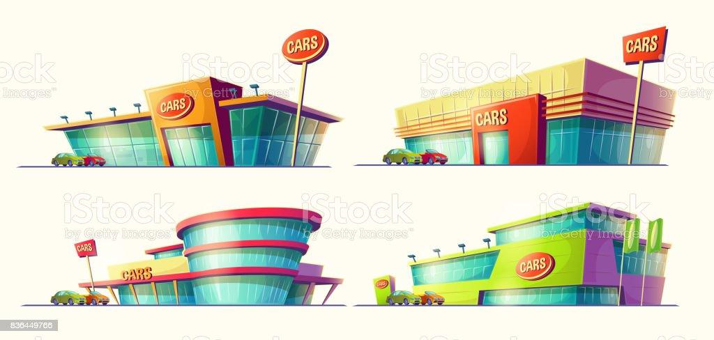 Vector Cartoon Illustrationen, verschiedene Gebäude, Auto-Verkauf-Center, Autovermietung. – Vektorgrafik