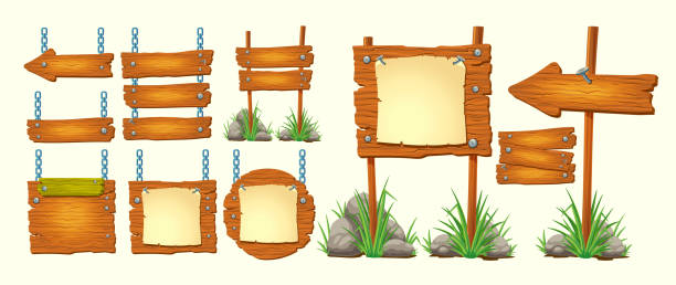 satz von vector cartoon illustrationen holzschilder, gui-design-elemente - nagelplatte stock-grafiken, -clipart, -cartoons und -symbole