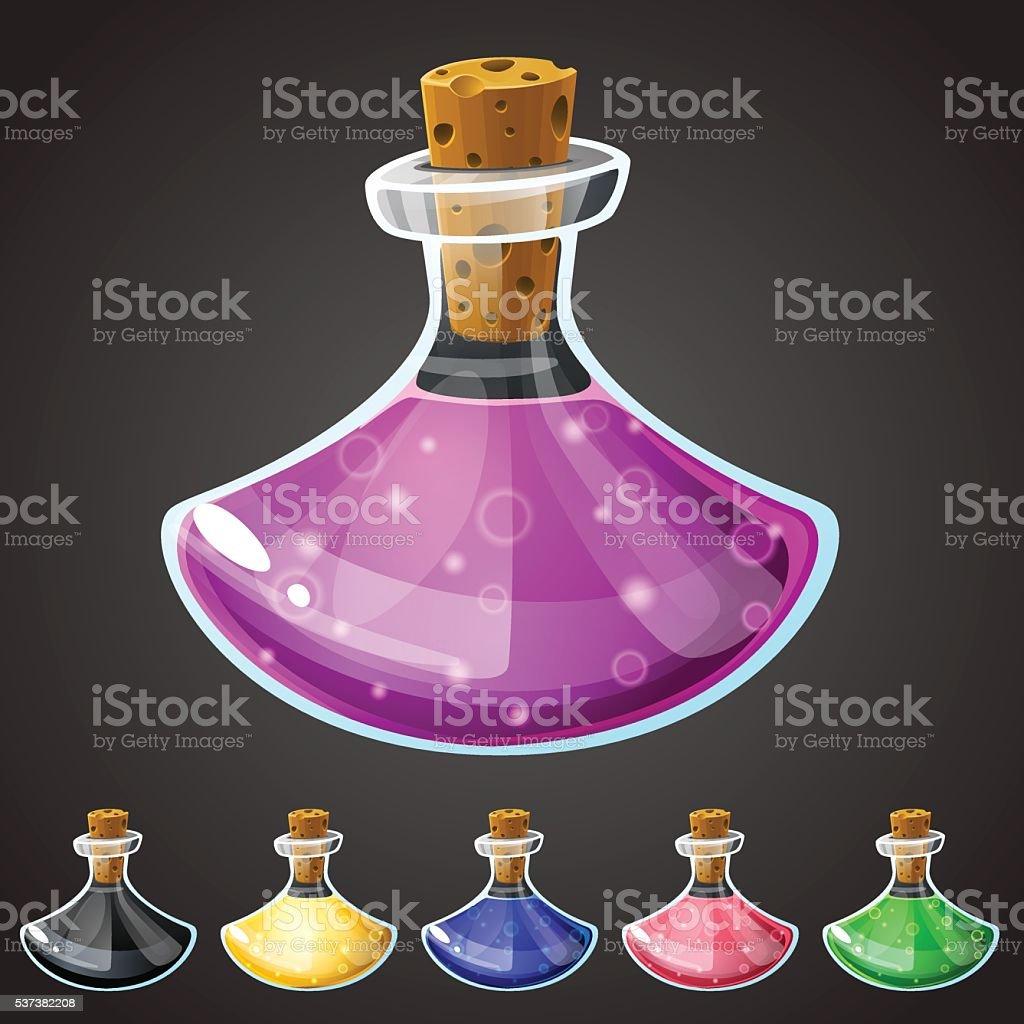 Set of vector cartoon potion bottle. vector art illustration