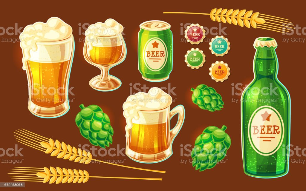 Set of vector cartoon various containers for bottling and storing beer vector art illustration