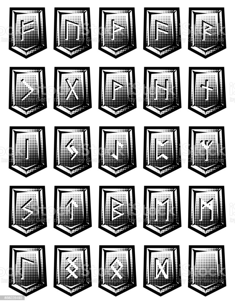 set of vector character from runic alphabet on stones. vector art illustration