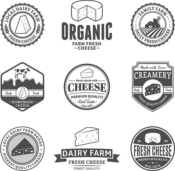 ilustrações de stock, clip art, desenhos animados e ícones de conjunto de rótulos de vetor queijo, ícones e elementos de design - queijo
