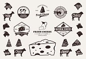 Set of cheese labels. Cheese labels with sample text. Cheese icons and design elements for groceries, agriculture stores, packaging and advertising. Farm animals icons.