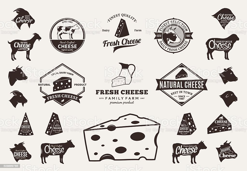 Set of Vector Cheese Labels, Icons and Design Elements vector art illustration