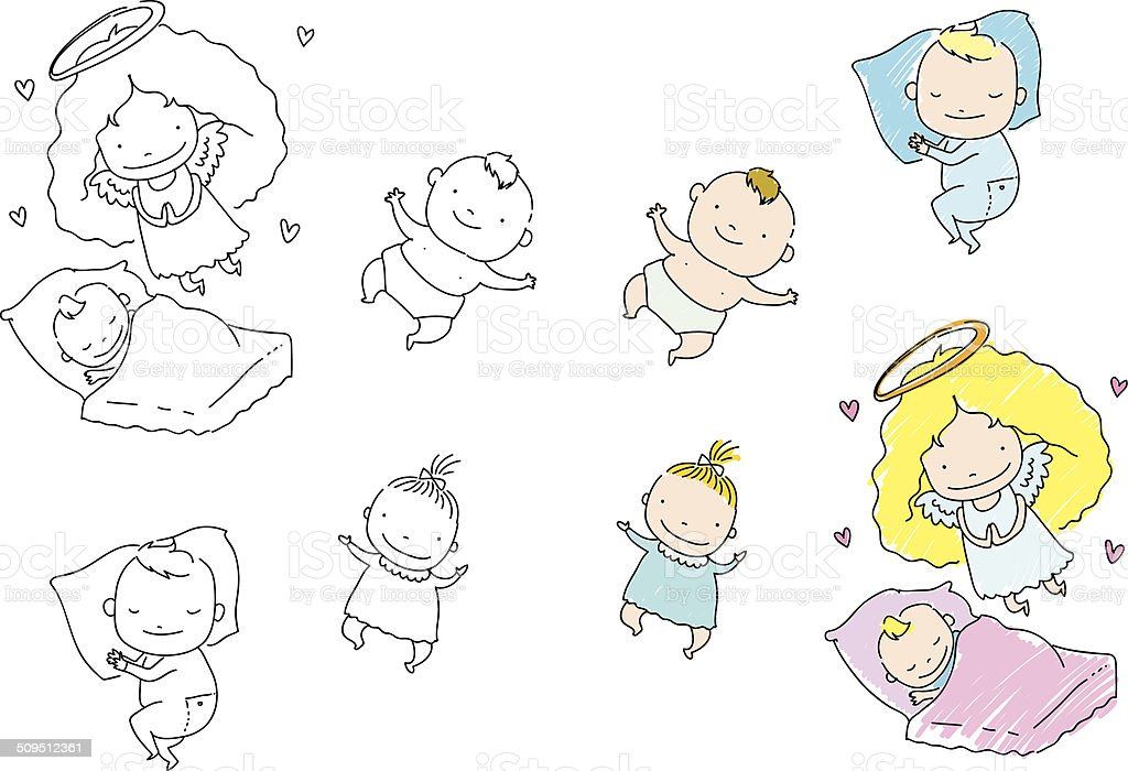 Set of vector children drawings vector art illustration