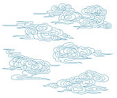 Set of vector Chinese clouds for decor holiday posters