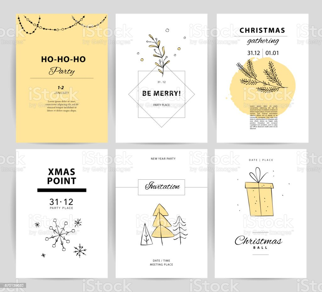 Set Of Vector Christmas New Year Congratulation Card Designs Stock Illustration Download Image Now Istock