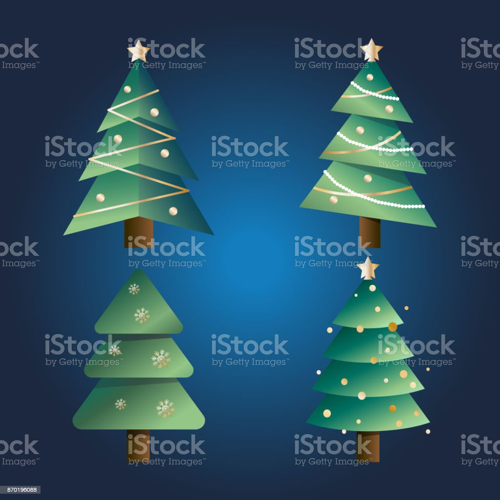 set of vector christmas trees with different kinds of branches on a dark blue background royalty - Different Christmas Trees