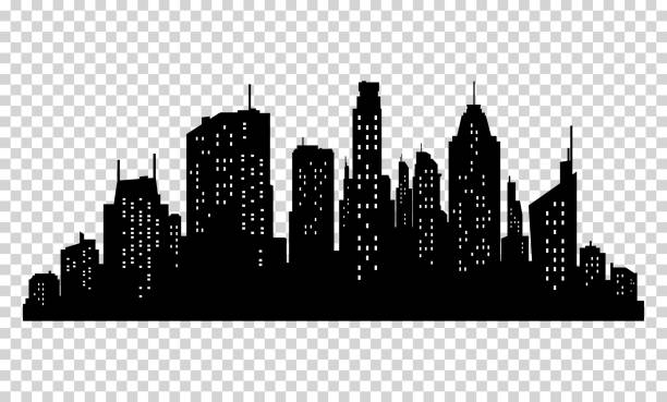 stockillustraties, clipart, cartoons en iconen met set of vector city silhouette and elements for design. - wolkenkrabber