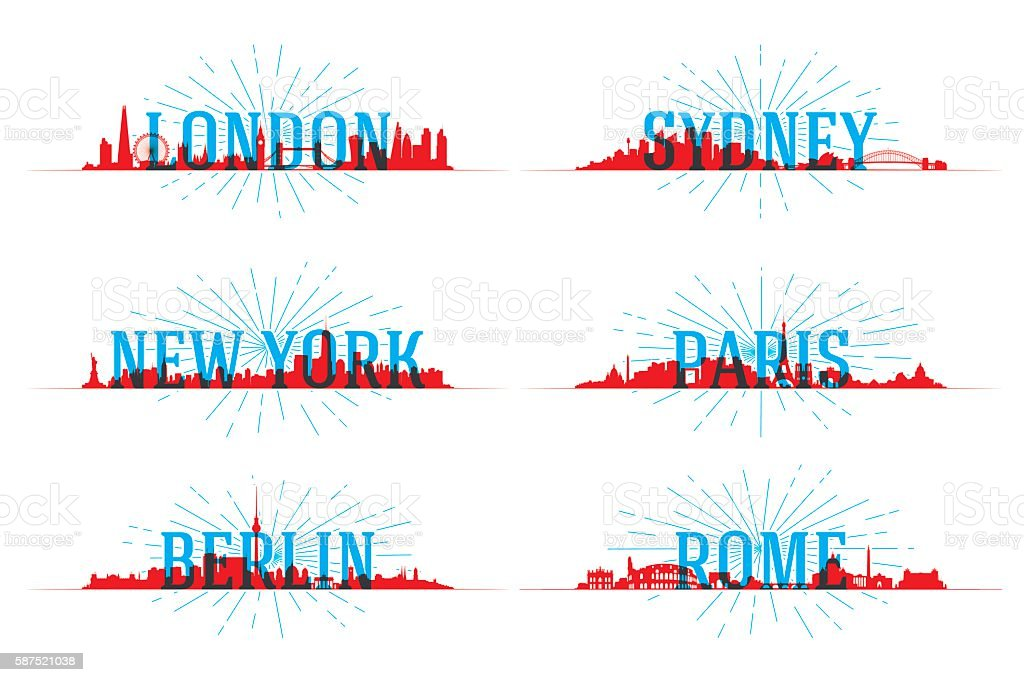 Set of vector city skyline world vector art illustration
