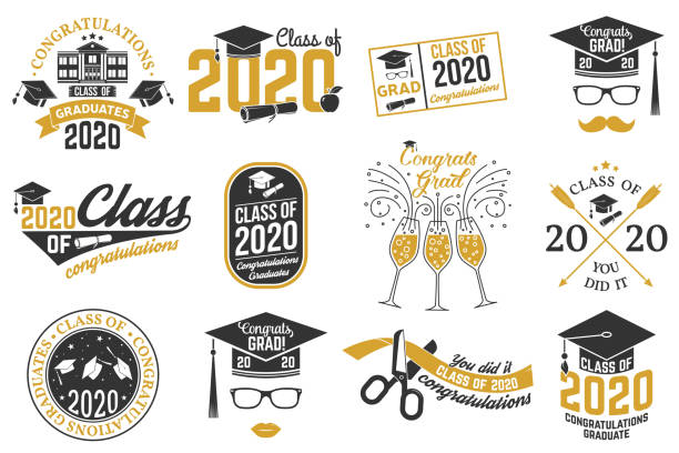 illustrations, cliparts, dessins animés et icônes de ensemble de badges vector class of 2020. concept pour la chemise, l'impression, le sceau, la overlay, le timbre, le salut, la carte d'invitation. typographie design- stock vector. - apprentissage