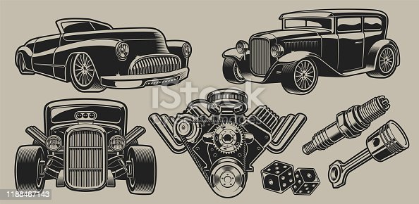 Set of vector classic cars and parts illustrations in vintage style isolated on the light background.