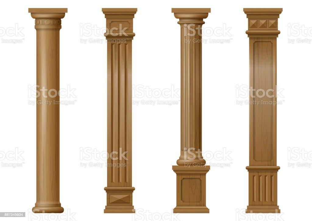 Set of vector classic wood columns vector art illustration