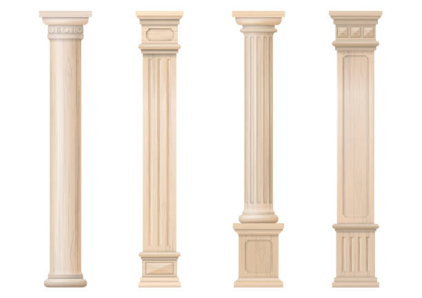 Set of vector classic wood columns Set vintage classic wood carved architectural columns with ornament for interior or facade. Joinery elements or balusters. Vector graphics neo classical stock illustrations