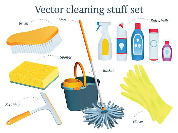 ilustrações de stock, clip art, desenhos animados e ícones de conjunto de vetor de projeto de produtos de limpeza com a esfregona, balde, bola de manteiga - esponja