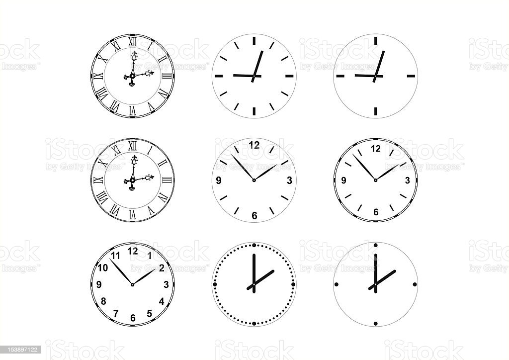 set of vector clock faces and hands vector art illustration