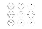 set of vector clock faces and hands