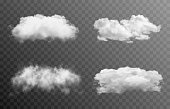 istock Set of vector clouds or smoke on an isolated transparent background. Cloud, smoke, fog, png. 1322996294