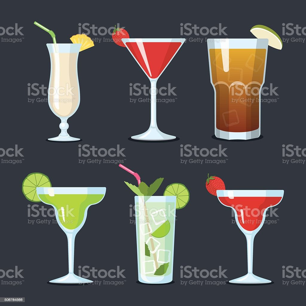 Set of vector cocktails in glasses vector art illustration