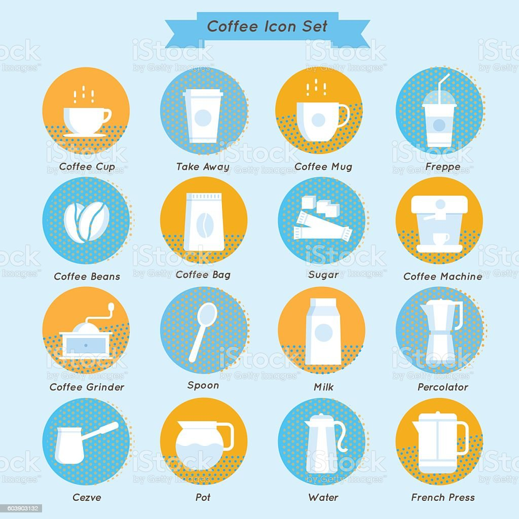 Set of vector coffee icons vintage design. vector art illustration