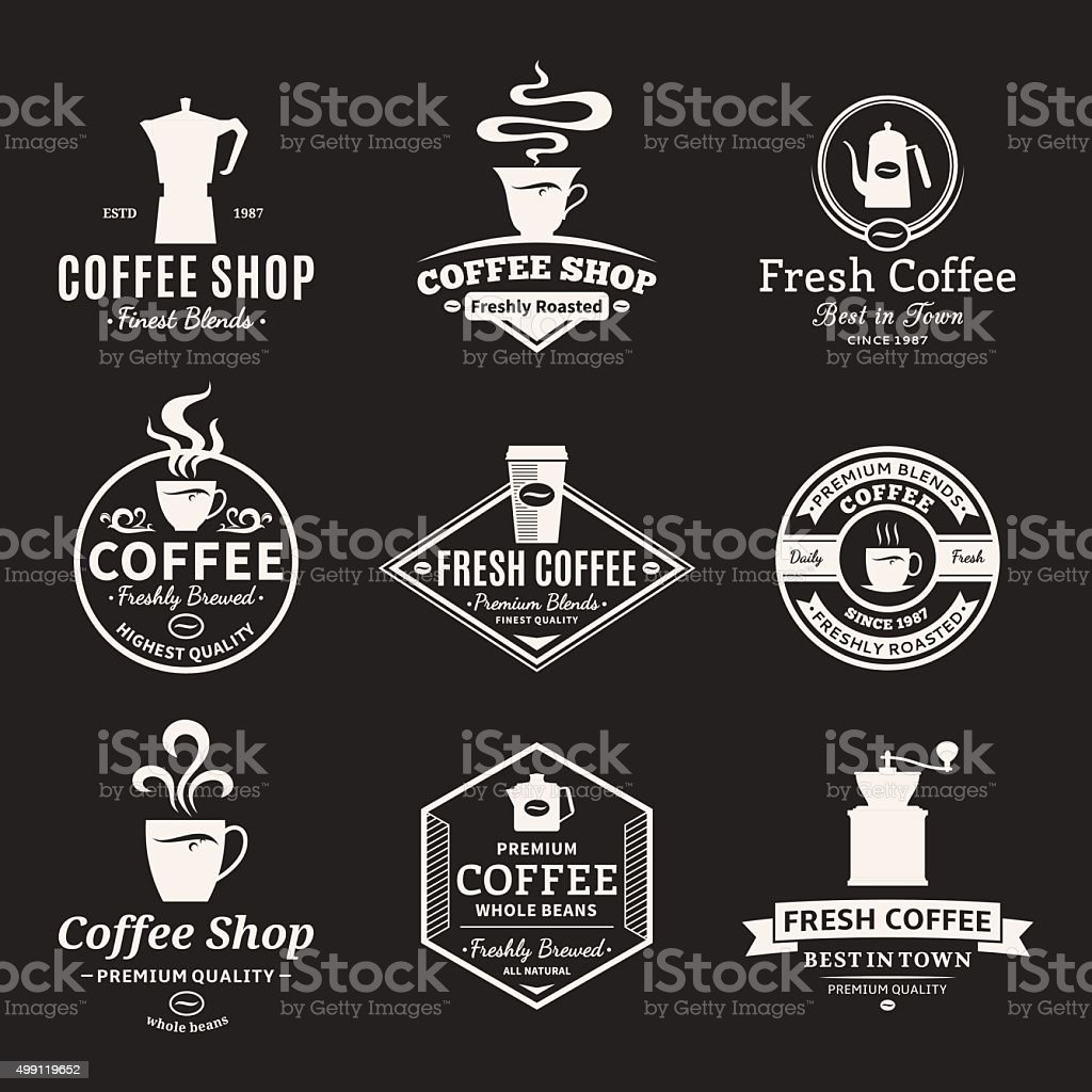 Set of Vector Coffee Shop Labels, Icons and Design Elements vector art illustration