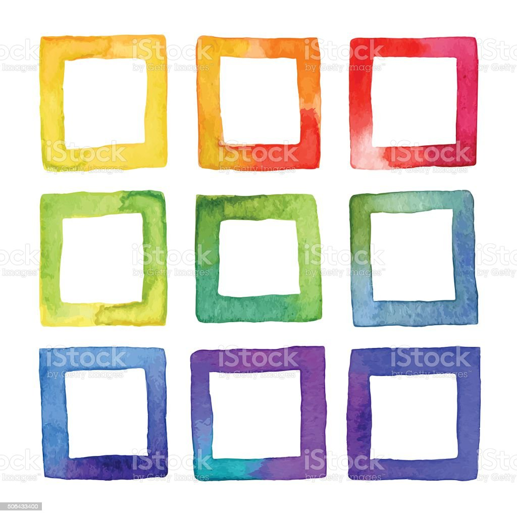 Set of vector coloful watercolor squares for your design. vector art illustration