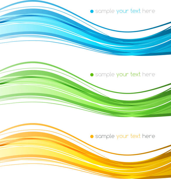set of vector  color curve lines design element. - squiggle line stock illustrations, clip art, cartoons, & icons