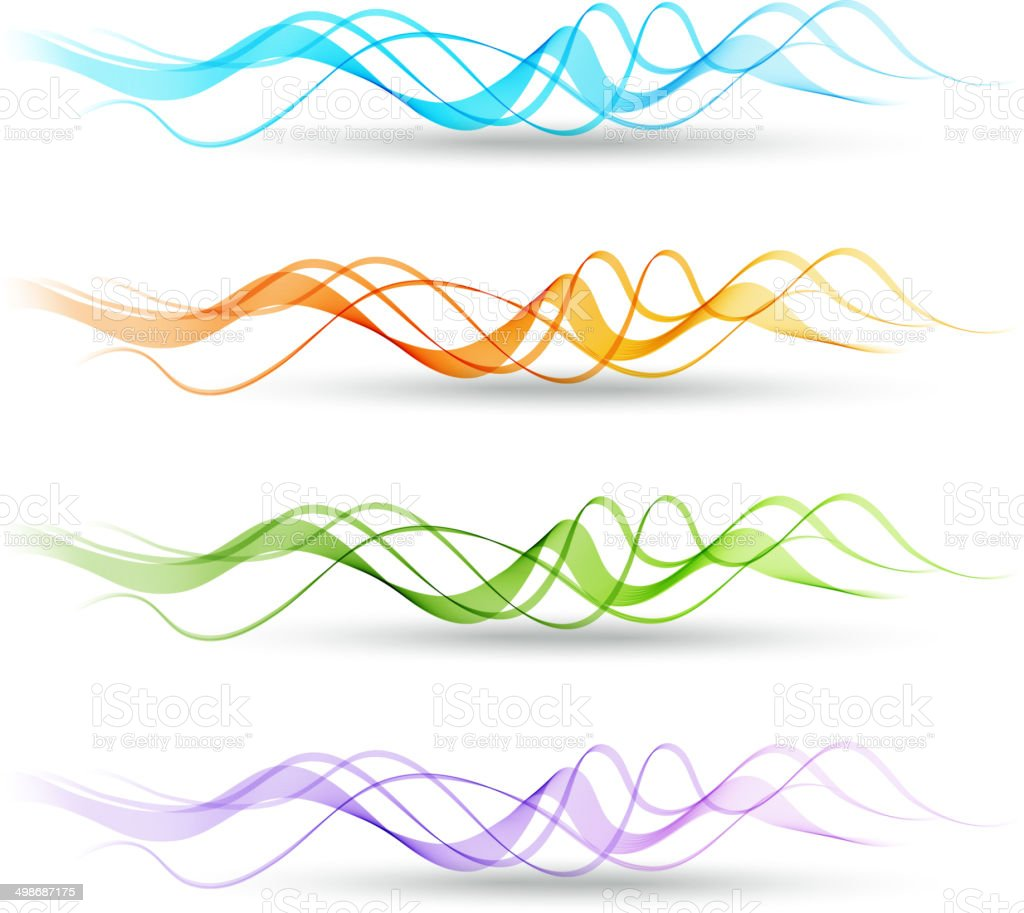 Colour Line Art Design : Set of vector color curve lines design element stock
