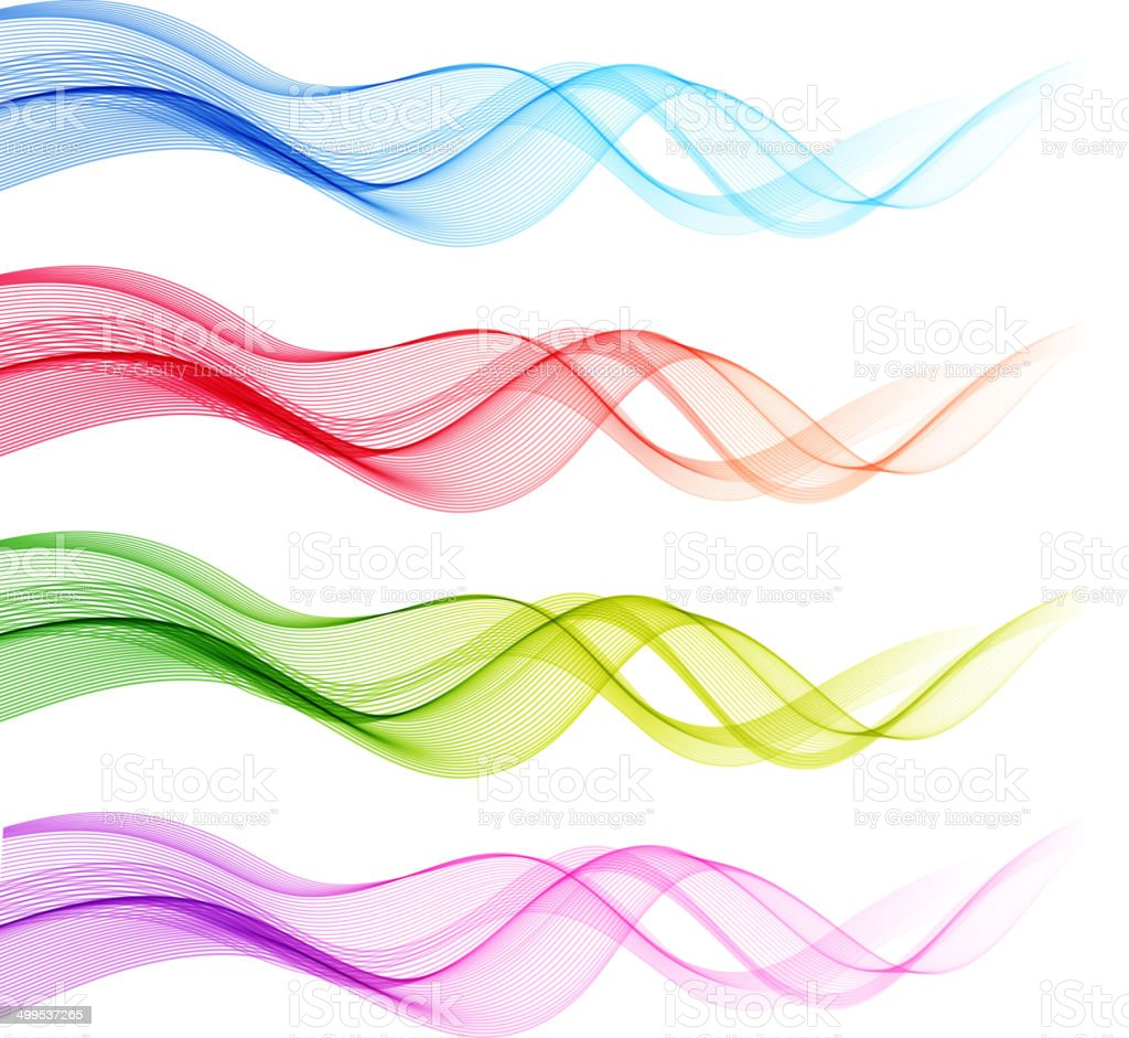 Color Line Design : Set of vector color curve lines design element stock