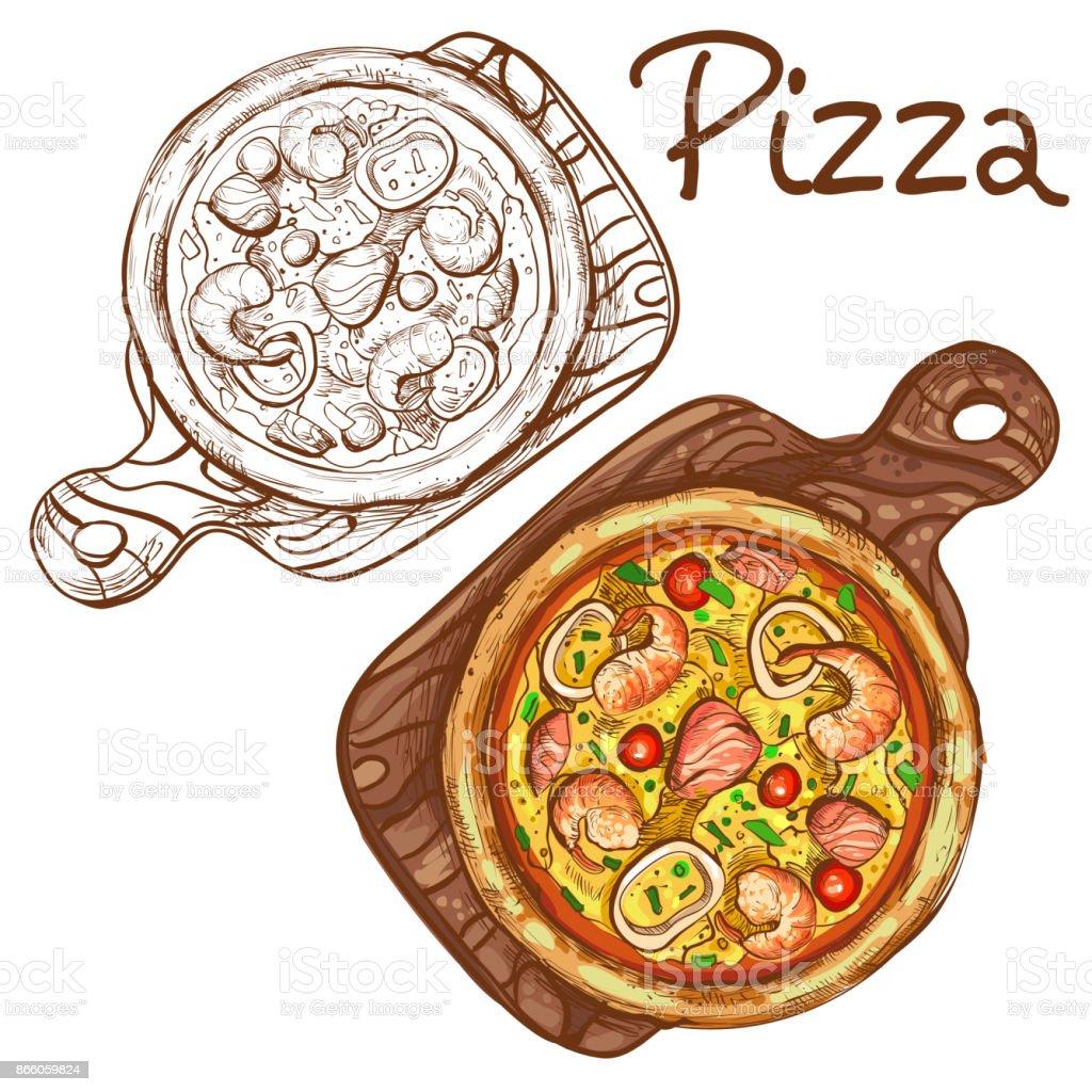 Satz Von Vektor Abbildungen In Farbe Und Schwarzweiß Ganze Pizza Mit