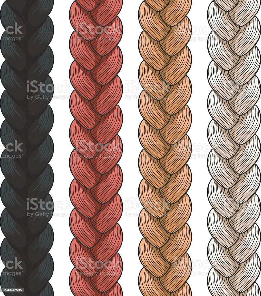 Set of vector colored pigtails. Seamless patterns vector art illustration
