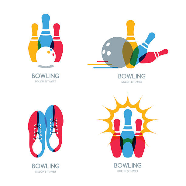 Set of vector colorful bowling icons and symbol. vector art illustration