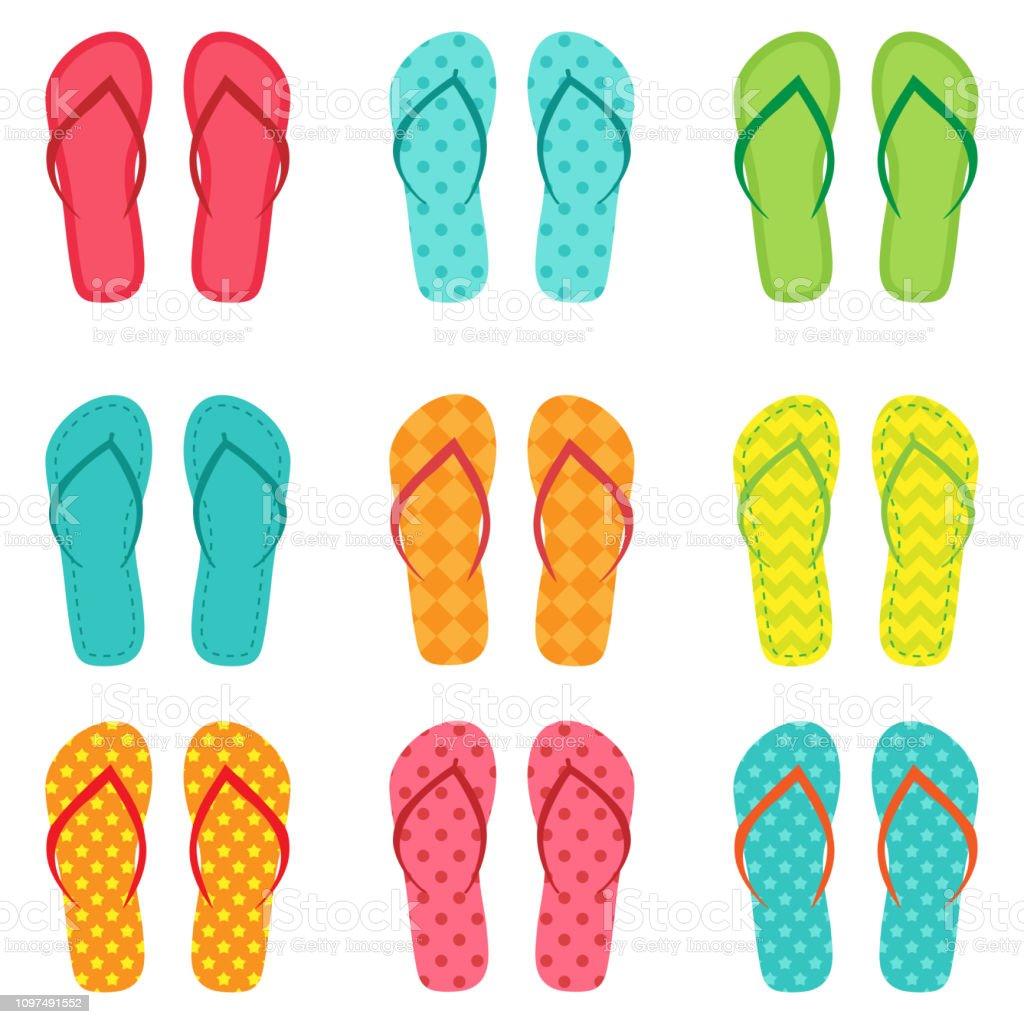 4504daf15237 Set of vector colorful flip flops royalty-free set of vector colorful flip  flops stock