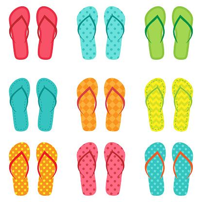 Set of vector colorful flip flops
