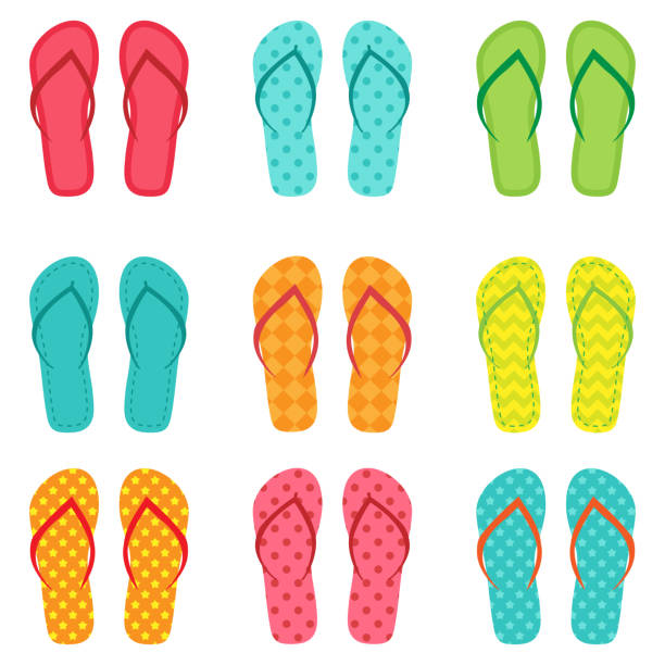 stockillustraties, clipart, cartoons en iconen met set van vector kleurrijke slippers - sandaal