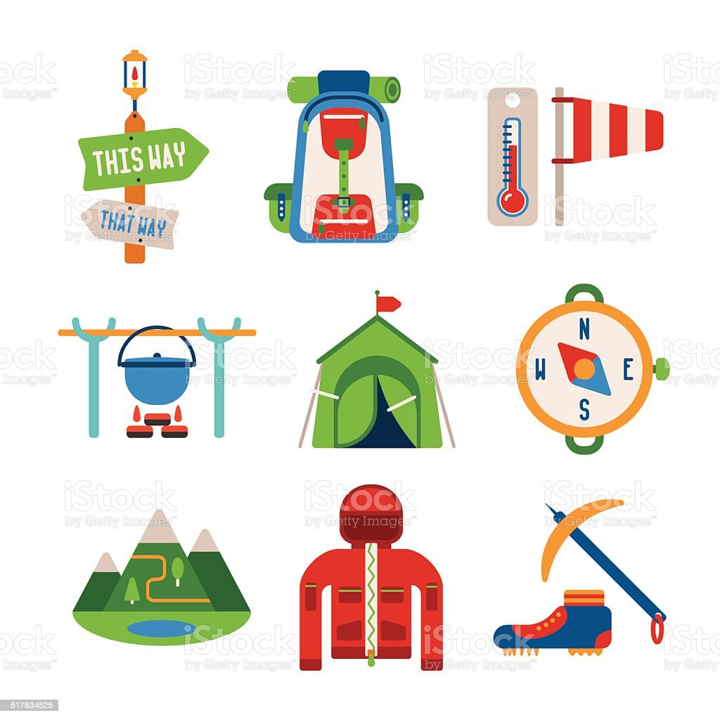 Set of vector colorful hiking icons in flat style vector art illustration