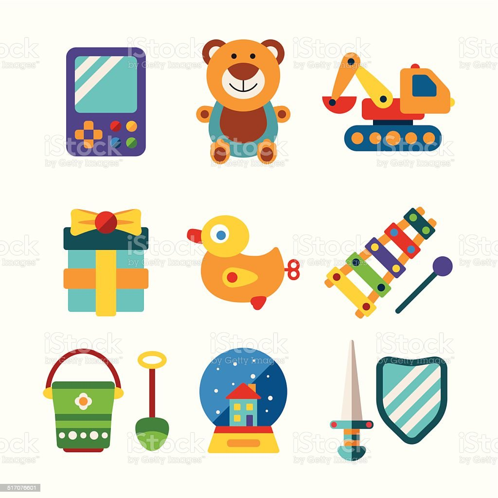 Set of vector colorful kids toys in flat style vector art illustration