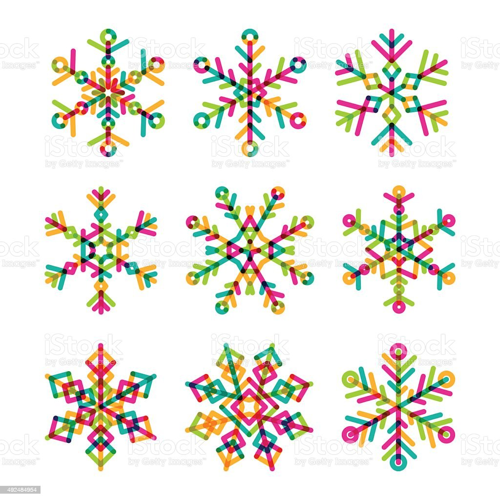 set of vector colorful linear snowflakes icons stock vector art rh istockphoto com snowflakes vector pattern snowflakes vector download