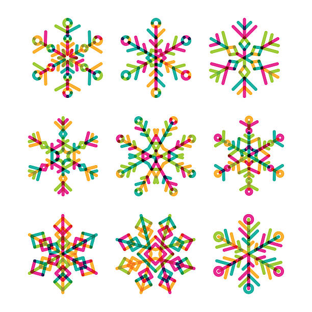 Set of vector colorful linear snowflakes icons. vector art illustration