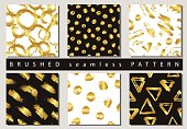 Set of Vector colorful seamless pattern with brush strokes and dots. Gold gradient color on black and white background. Hand painted grange texture. Ink geometric elements. Fashion modern style.