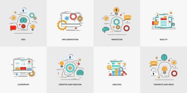 stockillustraties, clipart, cartoons en iconen met set van conceptuele platte lijn vectorillustraties. creatief en creatie, gedachten en ideeën. - schepping