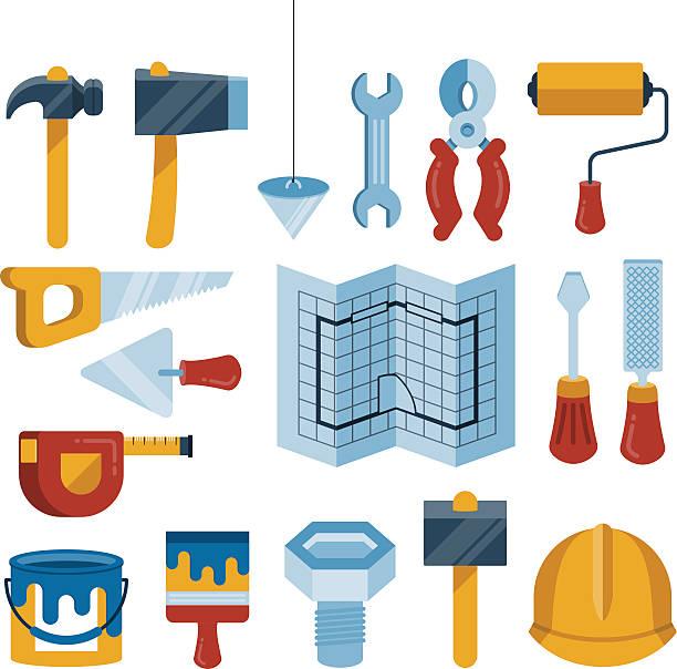 bildbanksillustrationer, clip art samt tecknat material och ikoner med set of vector construction tools icons - construction workwear floor