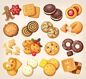 Set of all kinds of delicious chocolate and vanilla cookies.