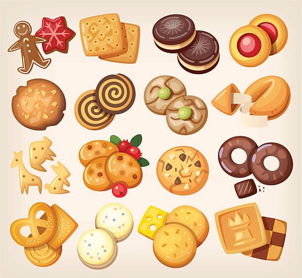 satz von vektor-cookies. - wackelpuddingkekse stock-grafiken, -clipart, -cartoons und -symbole
