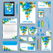 Set of vector corporate identity template. Modern business stationery mock